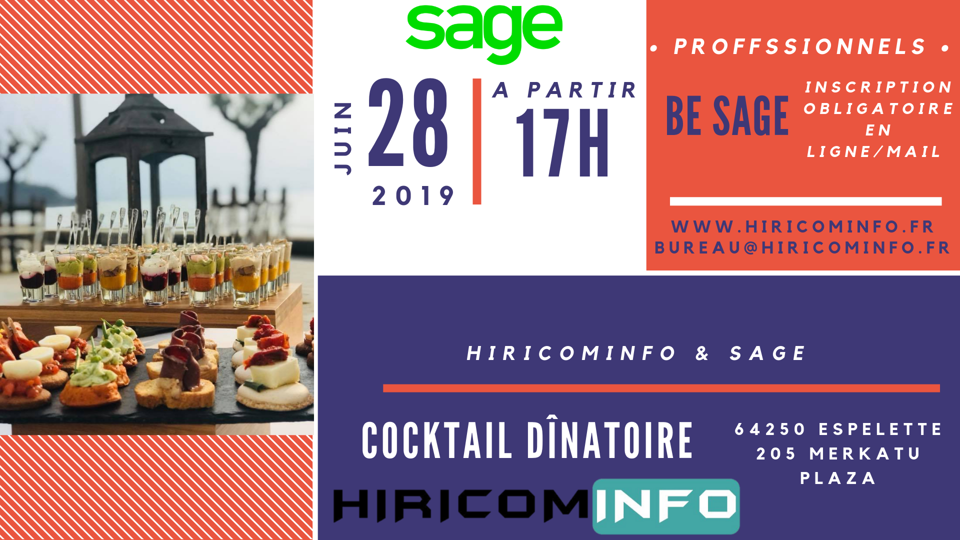 Inscription Cocktail Dînatoire HIRICOMINFO & SAGE